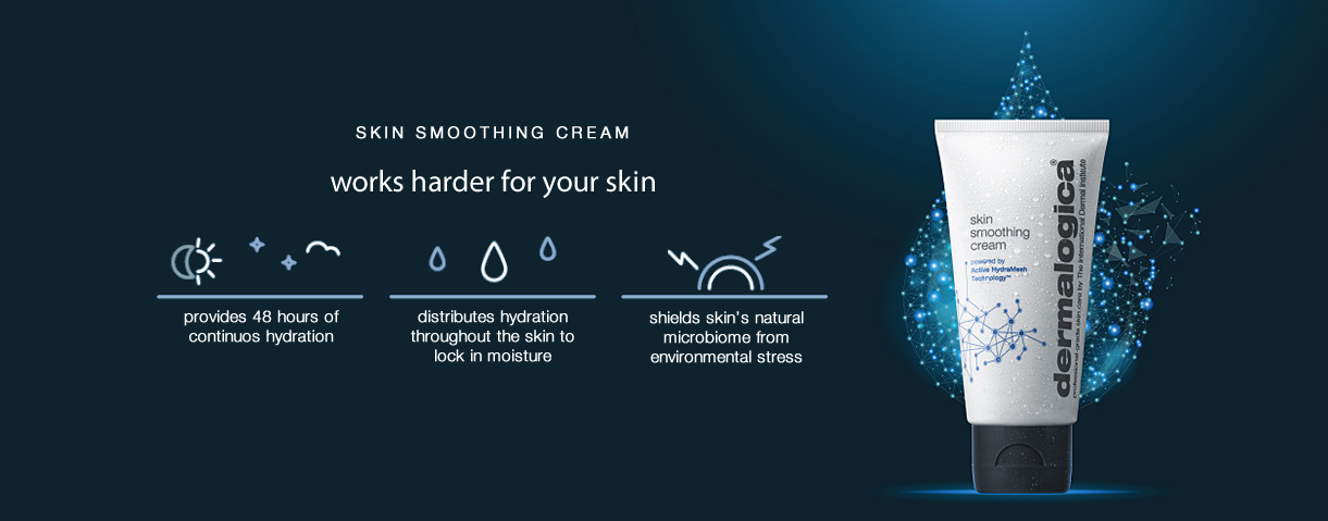 Skin smoothing cream with active hydramesh technology